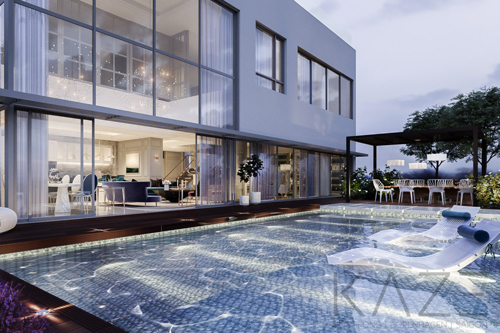 Villa interior design (outdoors & pool)-Diamond Island HCMC